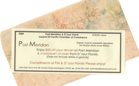 Gift certificate from Post Meridian