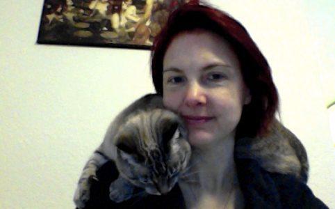 Velcro Kitty, aka Kiki, with Sallie Goetsch